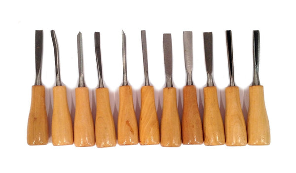 11 Piece Wood Carving Hand Chisel Tool Set - Woodworking Gouges Shapes