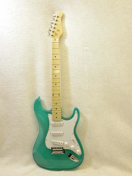 ELECTRIC GUITAR - GREEN See-Through ACRYLIC - CUSTOM - MAPLE NECK NEW