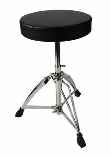 Drum Throne - Chrome Heavy Duty Double Braced Adjustable Round Swivel Seat Stool
