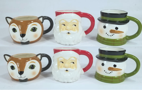 6 Mugs - EARTHENWARE SCULPTED Fox, Santa, and Snowman Mugs 15.5oz/ea -Threshold™