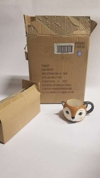 Bulk Purchase (Total Stock) of Earthenware Sculpted Fox Mug 15.5oz Brown/White - Threshold™