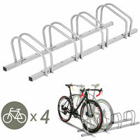 4 Bike Bicycle Stand Parking Garage Storage Organizer Cycling Rack Silver
