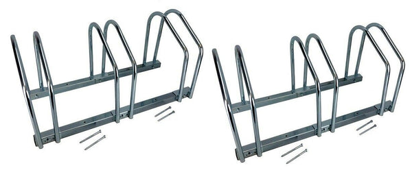 Set of TWO 3-Bike Floor Bike Stand-Silver Bicycle Rack Stand Park Mounted Holder