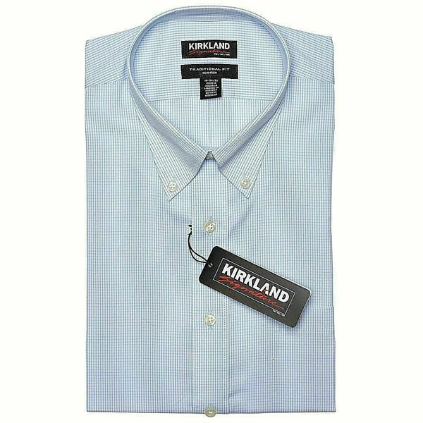 Kirkland Signature Men's Button Down Dress Shirt Light Blue White Check 15.5