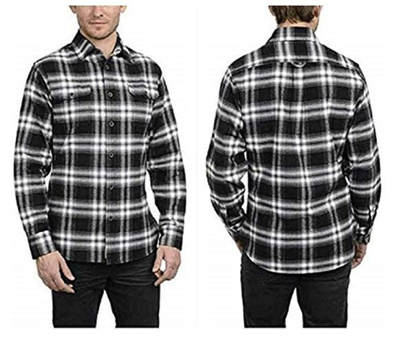 Jachs Men's Brawny Flannel Shirt,Variety (M, Black/Grey/White)