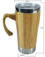 Set of 2 - 16 oz Bamboo Travel Mug with Handle, Leak Proof Lid, Straw, and Brush