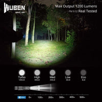 WUBEN TO40R LED Flashlight 1200 Lumens USB Rechargeable Waterproof 5 Modes