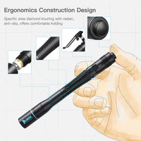 WUBEN E19 Black LED Flashlight 200 Lumen Pocket Size Mini Waterproof AAA 4 Modes