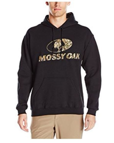 Men's Authentic Mossy Oak Pullover Sweatshirt Hoodie Large, Black