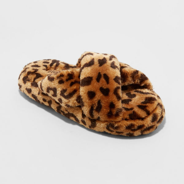 Girls' Stevies #CHECK Brown Large 4-5 Cross Band Plush Leopard Print Slipper
