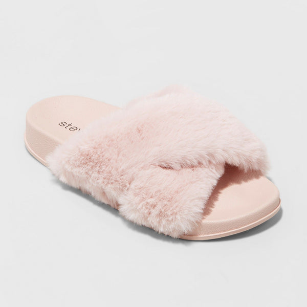 Girls' Stevies #GOTTAHAVIT Blush Size 2 Plush Slide Sandals