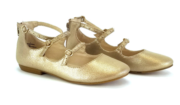 Girls' Stevies #JANIE Gold Size 1 Strappy Stud Ballet Flats