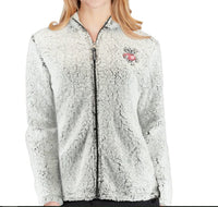 Wisconsin Badgers Women's Heathered Gray/White Large Sherpa Full-Zip Jacket