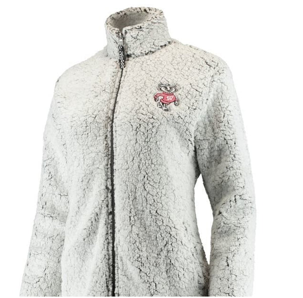 Wisconsin Badgers Women's Heathered Gray/White XL Sherpa Full-Zip Jacket
