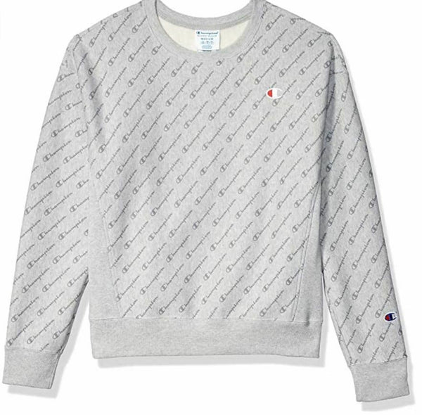 Champion LIFE Women's GREY Heather Large Printed Reverse Weave Crew