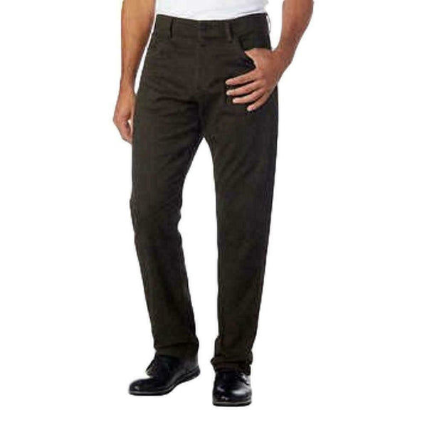 Calvin Klein Men's Stretch Flexible Waistband Textured Pants Olive Green 36X30L