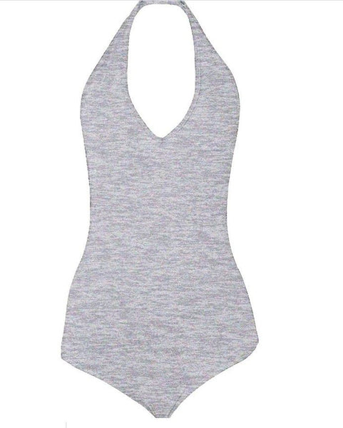 American Apparel Ladies Halter Bodysuit Heather Grey Ladies Med Cotton Spandex