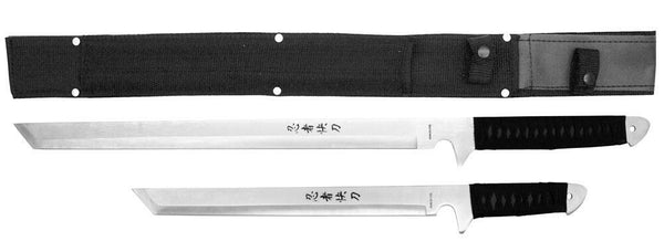 "2 Piece Ninja Sword Set 18"" & 22"" with Sheath Full Tang Combat Fantasy Knife"