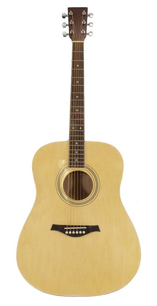 "41"" Acoustic Folk Guitar Natural Gloss Finish - 6 String Steel Lindenwood"