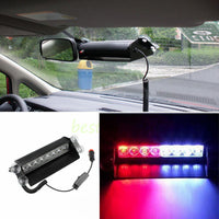 WINDSHIELD DASHBOARD EMERGENCY STROBE LIGHT LAMP 8 LED RED & BLUE AUTO VEHICLE