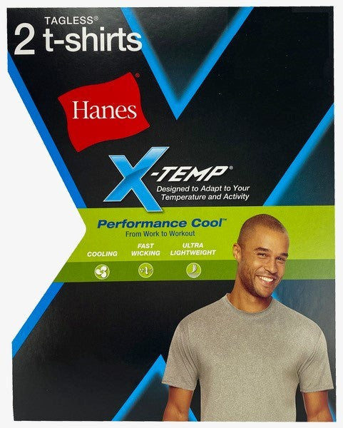 Hanes Men's Medium Gray 2 Pk X-Temp Performance Cool Crew Neck FreshIQ T-Shirts