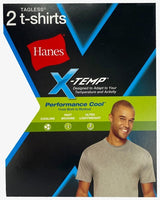 Hanes Men's Large Gray 2-Pack X-Temp Performance Cool Crew Neck T-Shirts FreshIQ