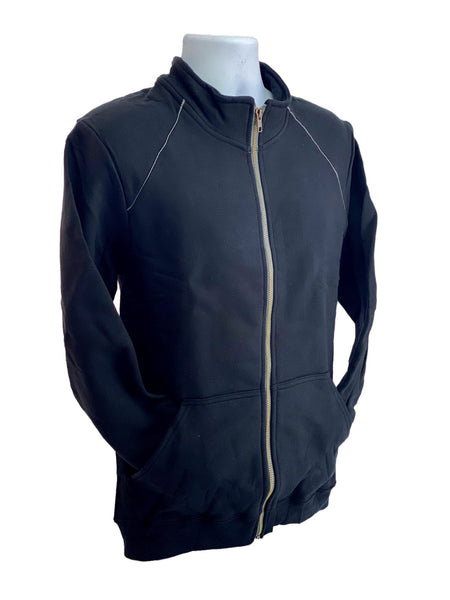 GILDAN Platinum Men's Cadet Collar Cotton Full Zip Sweatshirt BLACK Medium
