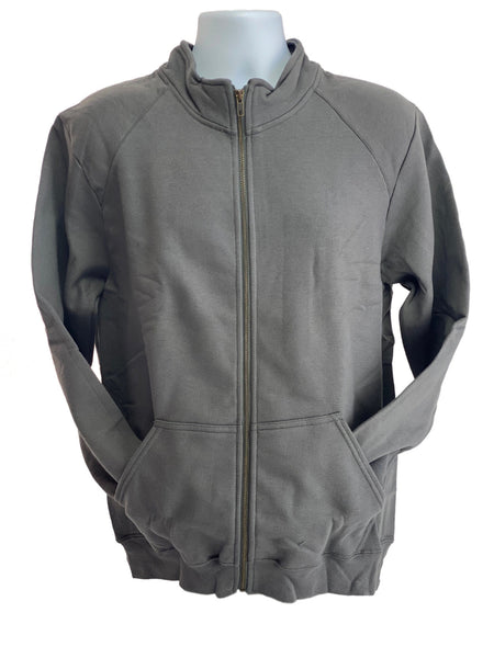 GILDAN Platinum Men's Cadet Collar Cotton Full Zip Sweatshirt Charcoal Grey Med