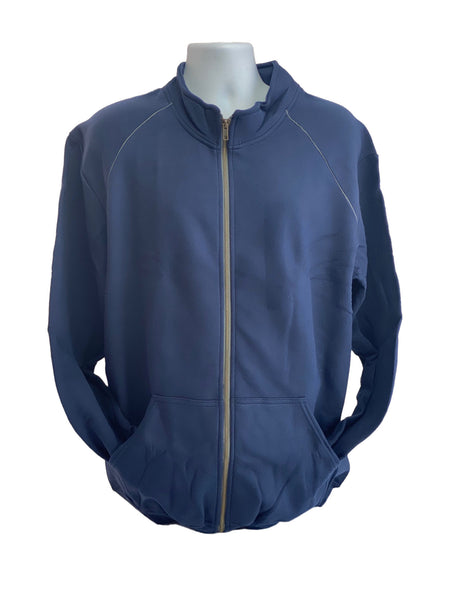 GILDAN Platinum Men's Cadet Collar Cotton Full Zip Sweatshirt Navy Blue Large