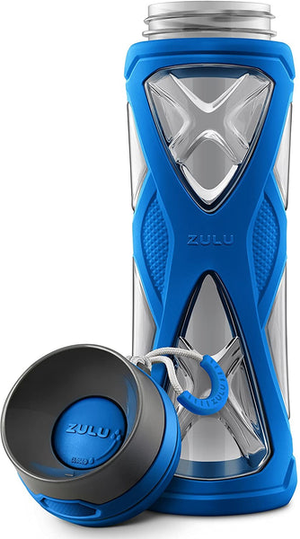 ZULU Charge BPA-Free Plastic Water Bottle with 360 Dial-a-Flow Lid