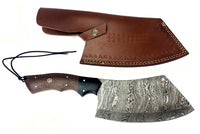 Damascus Steel Curved Back Cleaver Blade Handmade Leather Sheath Custom Handle