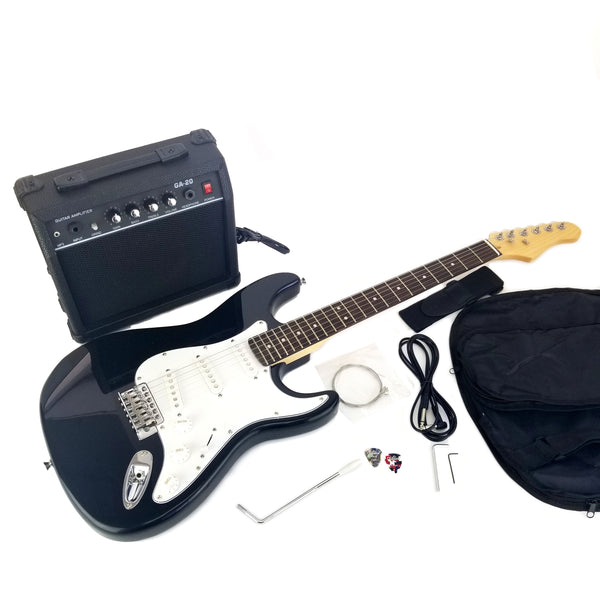 Full Size Electric 6 String Guitar Combo, 20w Amp, Solid Wood Body and Bolt on Neck, with Case, Picks, Cable and Tremolo Arm, Color: Gloss Black