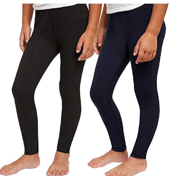 Splendid Studio Girls 2-Pack Solid Tapered Stretch Knit Leggings Black/Navy 10