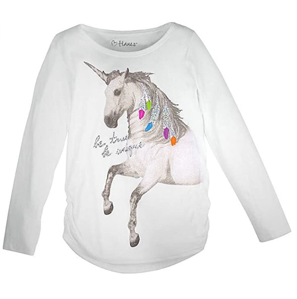 Hanes Girls SMALL Jersey Graphic Shirred Sideseam Long Sleeve Tee Unicorn Message/White