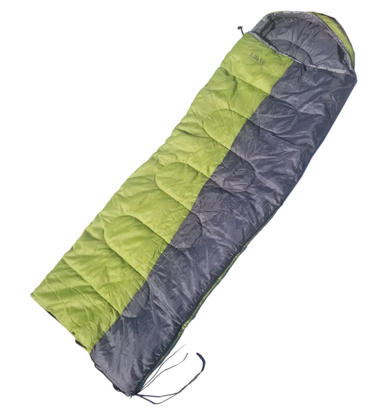Life VC Mummy Sleeping Bag, Backpacking Sleeping Bags for Adults and Kids Suitable for Camping, for Hiking Traveling, and Outdoors +10 deg F. rated; with Tote Sack, Color: Green/Grey
