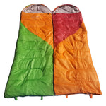 Attached or Individual Mummy Sleeping Bag, Backpacking Sleeping Bags for Adults and Kids Suitable for Camping, for Hiking Traveling, and Outdoors +10 deg F. rated; Free Compression Sack, Multi Color: Orange/Red and Green/Orange