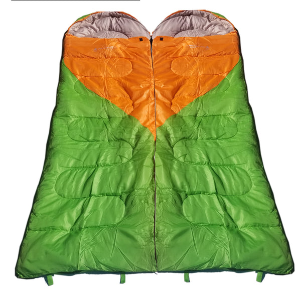 Attached or Individual Mummy Sleeping Bag, Backpacking Sleeping Bags for Adults and Kids Suitable for Camping, for Hiking Traveling, and Outdoors +10 deg F. rated; Free Compression Sack, Same Color: Both are Green/Orange