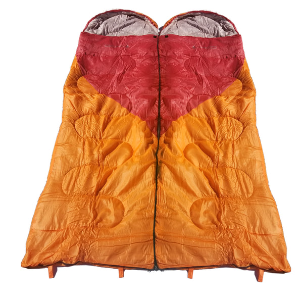 Attached or Individual Mummy Sleeping Bag, Backpacking Sleeping Bags for Adults and Kids Suitable for Camping, for Hiking Traveling, and Outdoors +10 deg F. rated; Free Compression Sack, Same Color: Both are Orange/Red