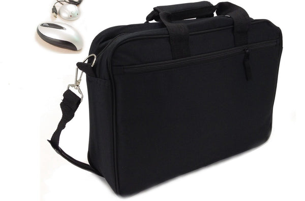 Laptop Shoulder Bag + FREE Optical Mouse - Black Travel Briefcase Universal