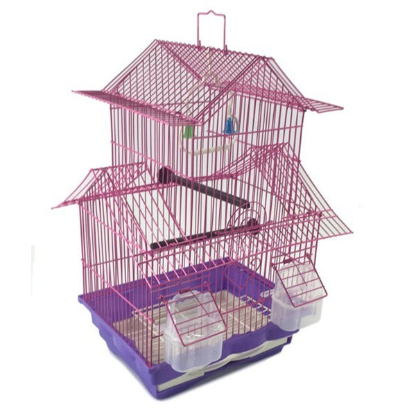 Pink 18-inch Medium Parakeet Wire Bird Cage for Budgie Parakeets Finches Canaries Lovebirds Small Quaker Parrots Cockatiels Green Cheek Conure perfect Bird Travel Cage and Hanging Bird House