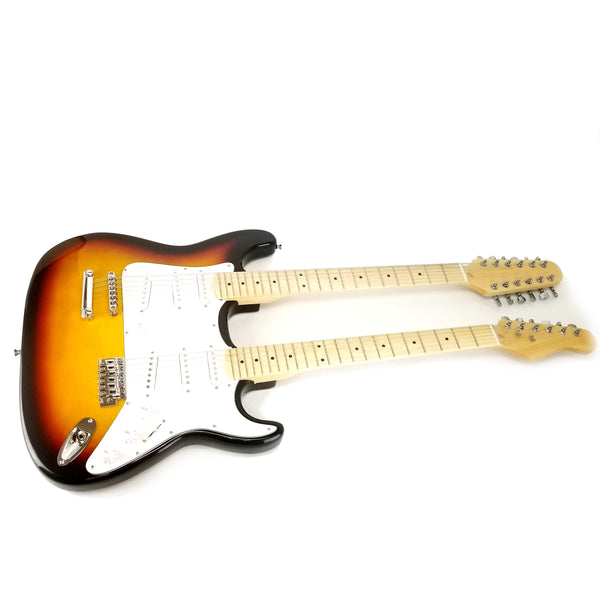 Double Neck Electric Guitar - Sunburst Tobacco