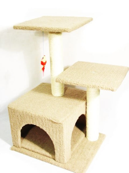 NEW PET Cat HOME Double Tower Platforms w. Cave Tunnel