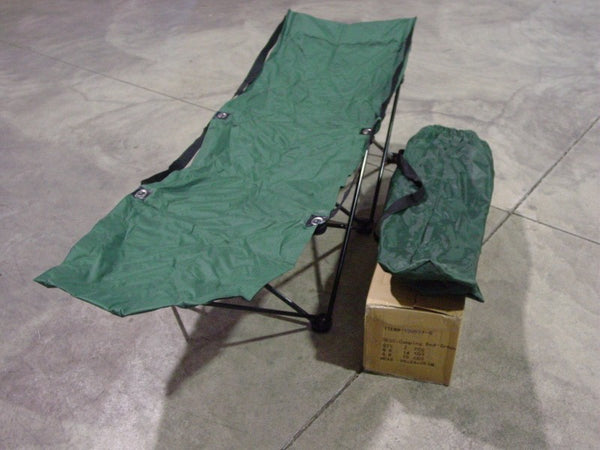 SPORTY CAMPING COT - GREEN + BAG OVERSIZE ADULT FOLDING