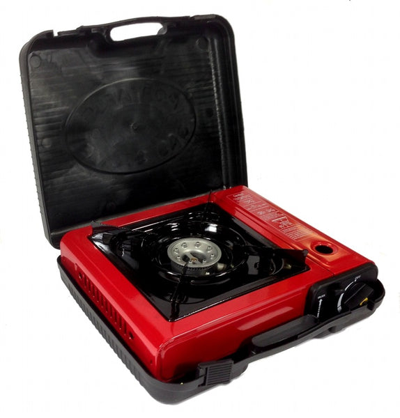 Single Burner Stove Butane Gas Portable Camping Survival with Carrying Case
