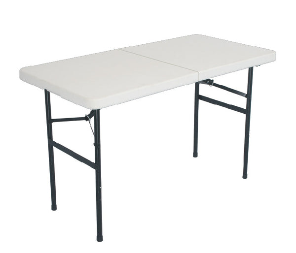 4' Foot White Center Fold Multipurpose Utility Folding Table w/ Carrying Handle