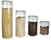 4 Piece Glass Food Storage Jars with Airtight Lids, for Candy, Pasta, or Spices