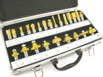 "ROUTER BITS SET - 24 pieces 1/2"" shank CARBIDE Aluminum Case NEW"