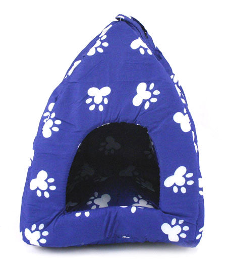 PET TENT - Blue w. White Paw Print - Dog Cat House NEW!