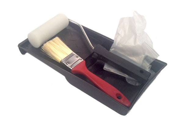 PAINT KIT SET 5-Piece TRAY ROLLER FOAM PAD BRUSH Painters GLOVES New