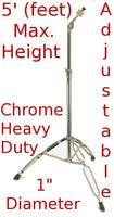 STRAIGHT CYMBAL STAND 5' Heavy Duty Chrome Double Braced Percussion Tripod NEW